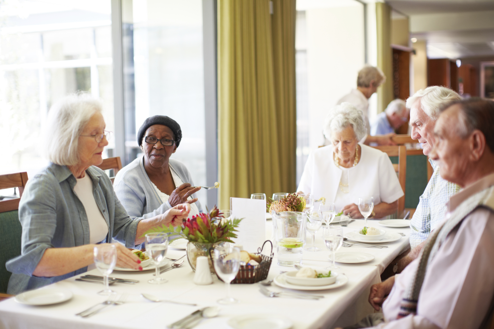Assisted Living Residents at lunch in Naples Florida